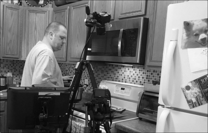 Marty with Cameras BW